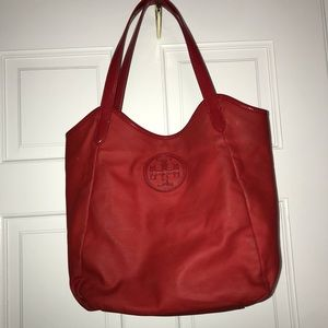 Red Leather Tory Burch shoulder bag
